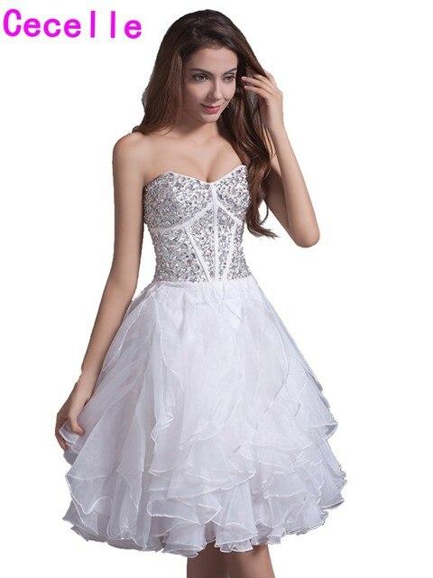 f57dc11e365f9 Klasik Beyaz Kısa Gençler Mezuniyet Elbiseleri 2019 Sevgiliye Boncuklu  Korse Ruffles Etek Gençler Gayri Balo Homecoming