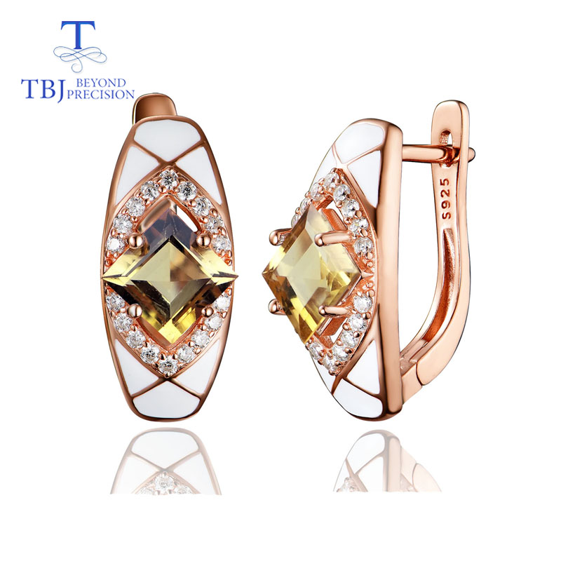 TBJ Natural gemstone citrine clasp earring 925 sterling silver fine jewelry for women simple luxury design