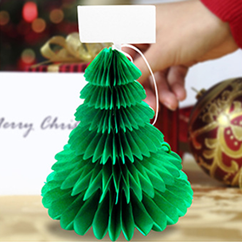 4pcs Christmas Tree-shape Place Paper Cards Xmas Hat Place Card Holders Seat Name Guide Table Decoration Home Party 3D Garland place card holder