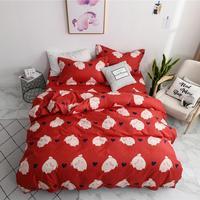 red piggy bedding set luxury cute Bedding lines duvet cover set Pillowcase kids bed sheet adult twin queen king size bedding set