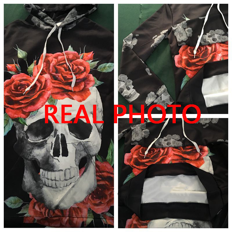 Women Long Sleeve Skull Hoodies Dress Flowers Bodycon Sweatshirts Pullover Streetwear Hoodie Autumn Casual Clothes Mini Dresses 4