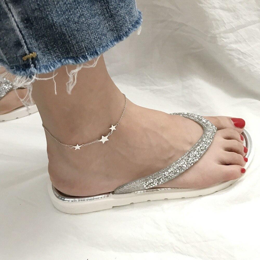 Amaiyllis S925 Sterling Silver Star Anklet For Women Girls Foot Stars Beach Wedding Leg Bracelet Women Foot Anklet Jewelry Gift