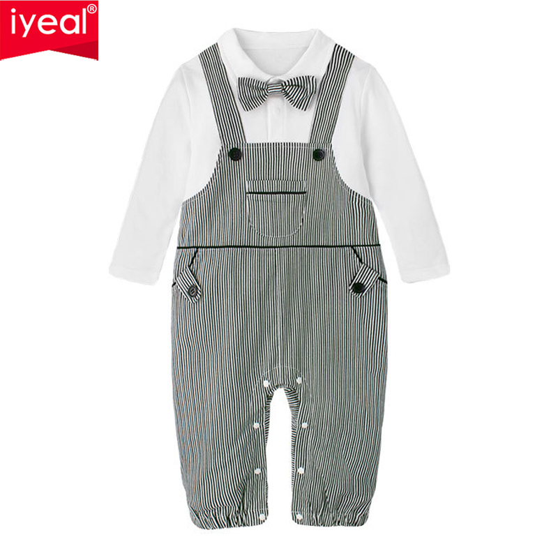 IYEAL Baby Boy Rompers Cotton Bow Tie Gentleman Party Clothing Toddler Prince Costume Infant Jumpsuits Newborn Boys Clothes cotton baby rompers set newborn clothes baby clothing boys girls cartoon jumpsuits long sleeve overalls coveralls autumn winter