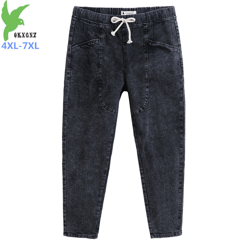 Plus size 4XL-7XL Spring Autumn Denim Pants Women Elastic waist Black Jeans Casual Pencil Pants Female 140kg can be worn G525