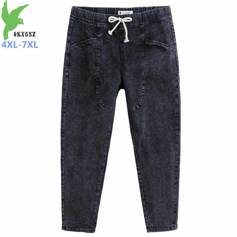 Talla Grande 4xl 7xl Primavera Otono Denim Pantalones Mujer Cintura Elastica Negro Jeans Casual Lapiz Pantalones Mujer 140kg Puede Ser Usado G525 Aliexpress