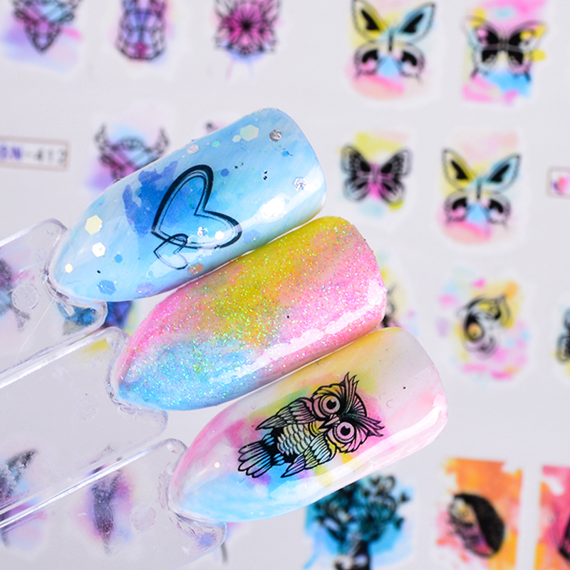 12 Amazing Diy Nail Art Designs: 12 Designs Colorful Mixed Butterfly Feather Tips Water