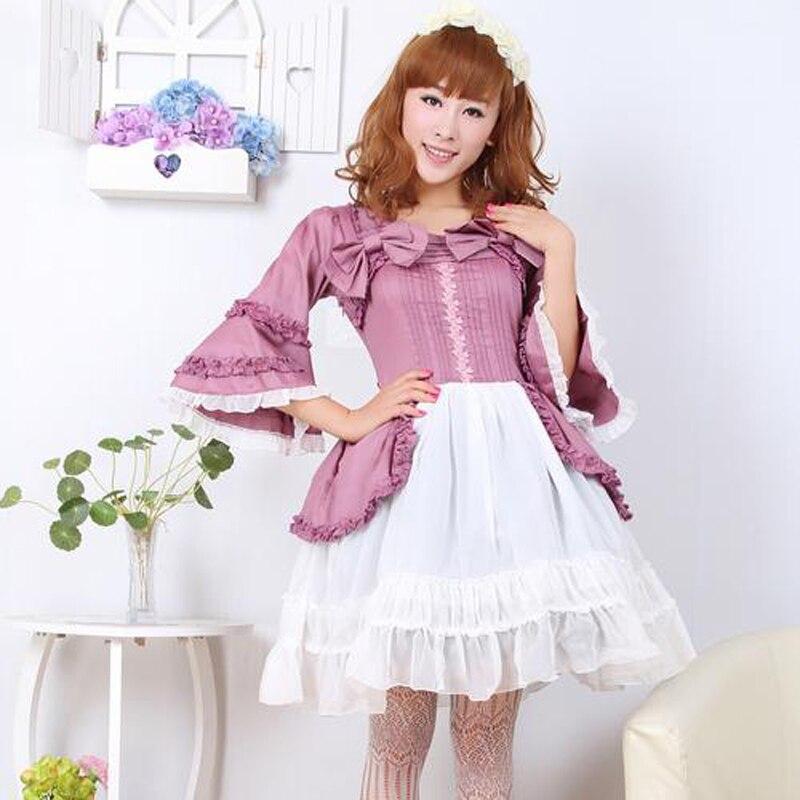 Costume lolita gothique rétro femmes manches trompette en mousseline de coton robe lolita fête du palais deux pièces robes