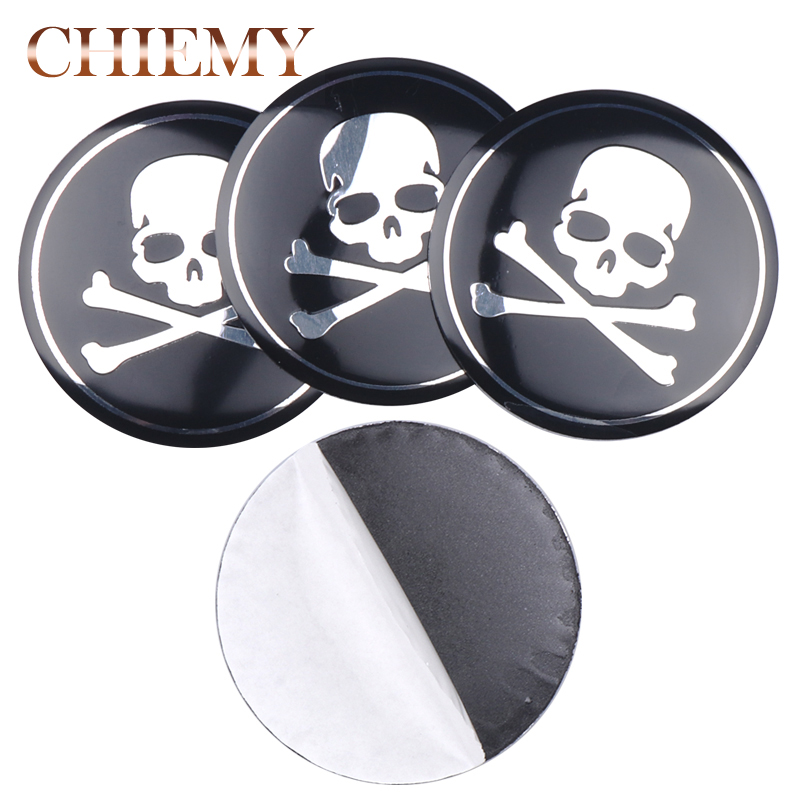4x 56/65mm 3D Metal Skull Skeleton Crossbones Car Wheel Center Hub Caps Cover emblem Sticker Car Styling Decoration Accessories Стикер