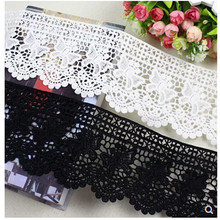 5Yards *12cm wide White and black Water soluble milk silk ribbon hollow lace trim fabric for Sewing Bridal Wedding dress Crafts