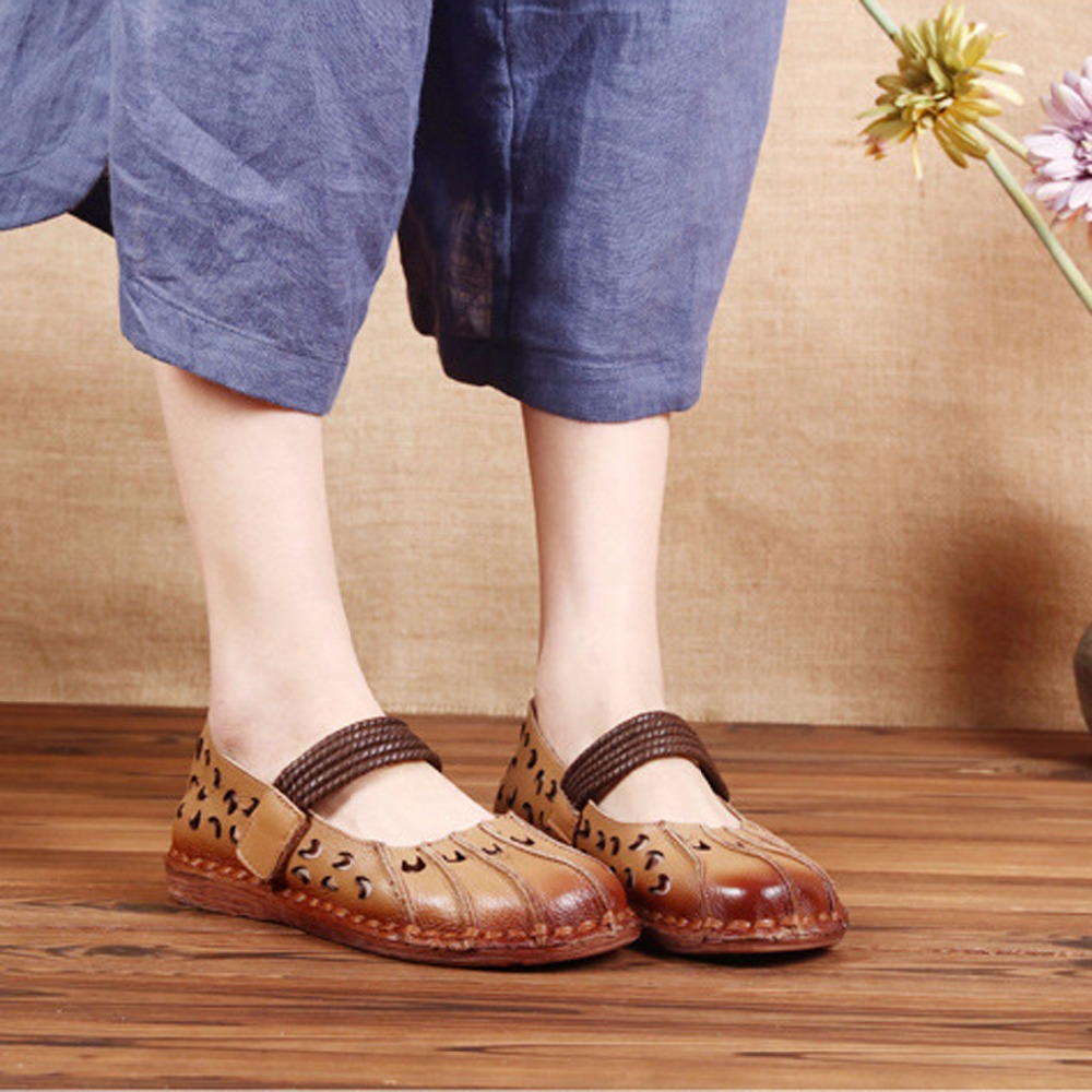 Women' s Sewing Cow Natural Leather Slip-On Flats Casual Summer Round Toe Comfortable Shallow Rubber Hollow Shoes For Women 18 women s shoes 2017 summer new fashion footwear women s air network flat shoes breathable comfortable casual shoes jdt103