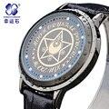 2016 Nova Xingyunshi Digital Relógios De Pulso Tag Couro Preto Vogue Casual assista Homens e mulheres Relojes hombre relógio de Pulso Simples