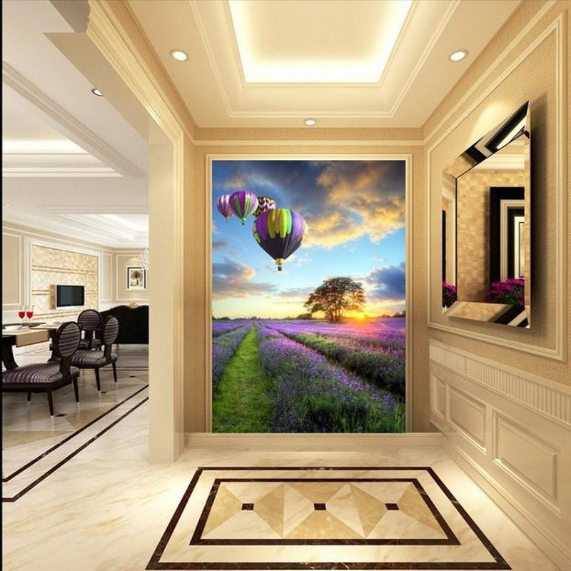 photo wallpaper 3D Purple Lavender Hot Air Balloon Pastoral Background Fresco Corridor Wallpaper high quality mural ao058m 2m hot selling inflatable advertising helium balloon ball pvc helium balioon inflatable sphere sky balloon for sale