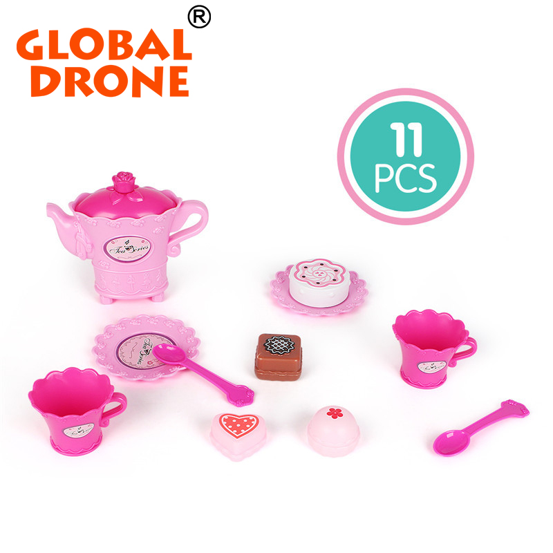 Global Drone 11pcs Kitchen Dollhouse Miniature Plastic Pink Tea Pot With Cups Tableware Toys Kitchen Accessory
