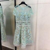 Бисером зеленые листья вышитые Дрес бежевый Sheer Mesh Половина рукава Элегантное летнее платье
