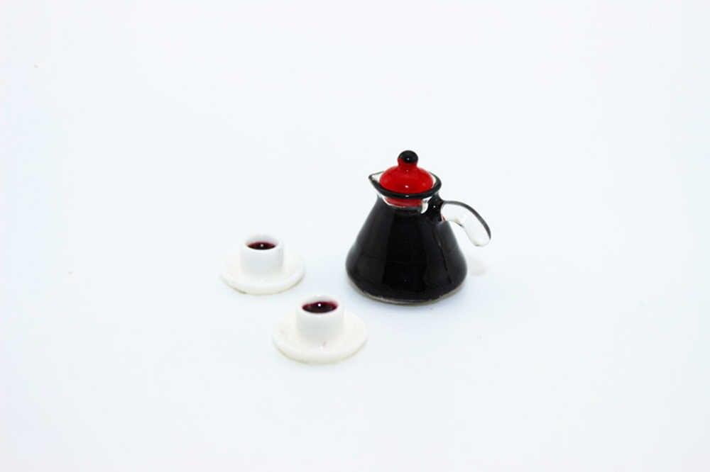 1/12 casa de muñecas accesorios en miniatura Mini cafetera con dos tazas muebles de simulación vajilla juguetes para la decoración de la casa de muñecas
