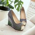 Nuevas mujeres de la manera zapatos de cuña tacones altos peep toe bombas de las mujeres zapatos atractivos del partido de las mujeres de la boda zapatos de novia de tacones de plataforma 2017