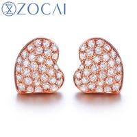 ZOCAI 2014 New Arrival Heart Shape 0 14 Ct Natural Genuine Diamond 18K Rose Gold Earrings
