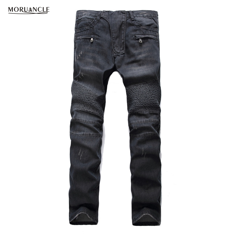 MORUANCLE Mens Fashion Brand Designer Ripped Biker Jeans Distressed Moto Denim Joggers Washed Pleated Jean Pants