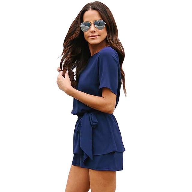 5598422168 placeholder Feiterawn 2018 Summer Casual Playsuit Navy Half Sleeves Peplum  Waist Romper Women Jumpsuits Boho Short Overalls