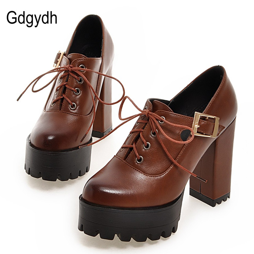 ФОТО Gdgydh 2017 Spring Female Motorcycle Boots Women Pumps Platform Thick High Heels Single Shoes Ankle Boots Lacing Plus Size 43
