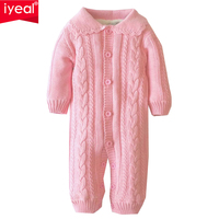 IYEAL Baby Winter Romper Cotton Padded Thick Newborn Baby Girl Long Sleeve Warm Jumpsuit Infant Kid