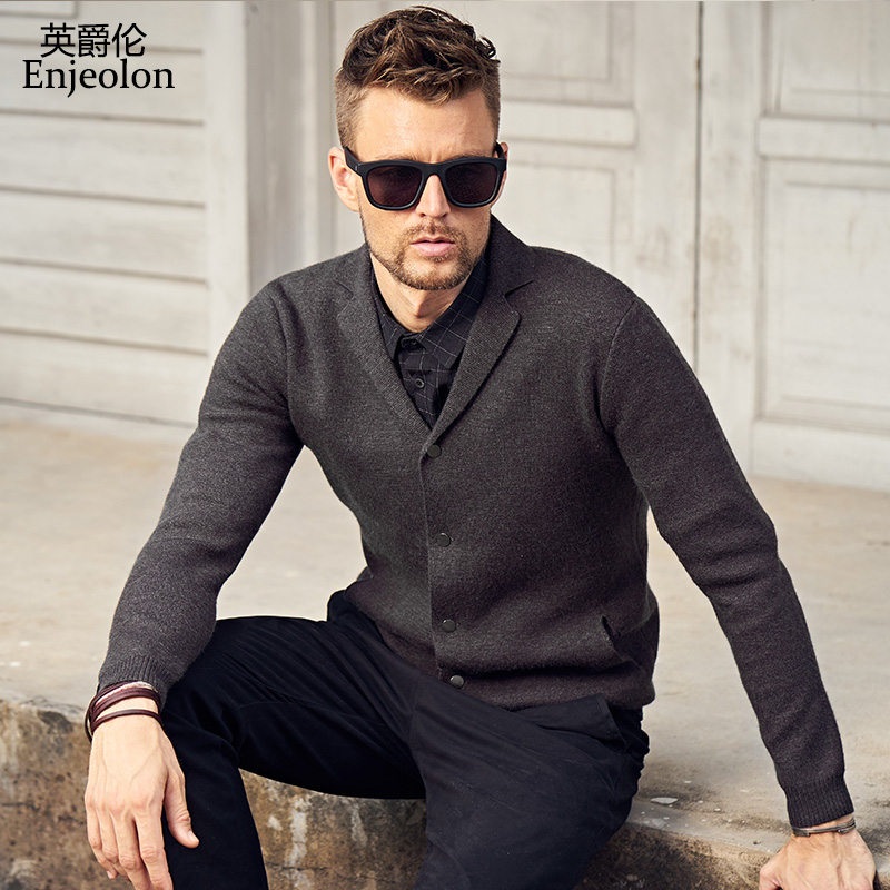 Enjeolon brand new winter long sleeve knitted cardigan warm Sweater man clothes Cotton Grey Clothing Sweater free ship MY3217