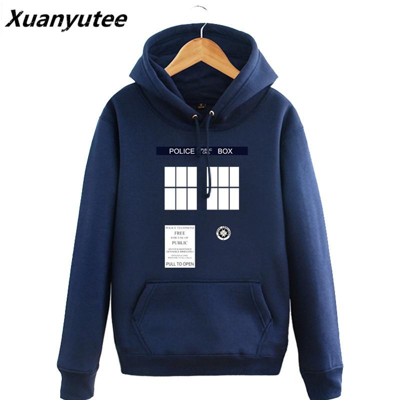 Doctor Who Hoodies Herren Tardis Call Box Pullover Sweatshirts Gedruckt Frauen Mit Kapuze trainingsanzug Winter Fleece Blau Große Größe Jacken
