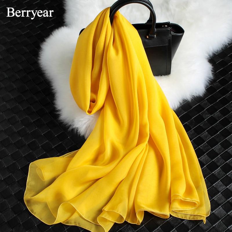 Berryear blagovna znamka šal pomlad poletje svilene šal ženske - Oblačilni dodatki