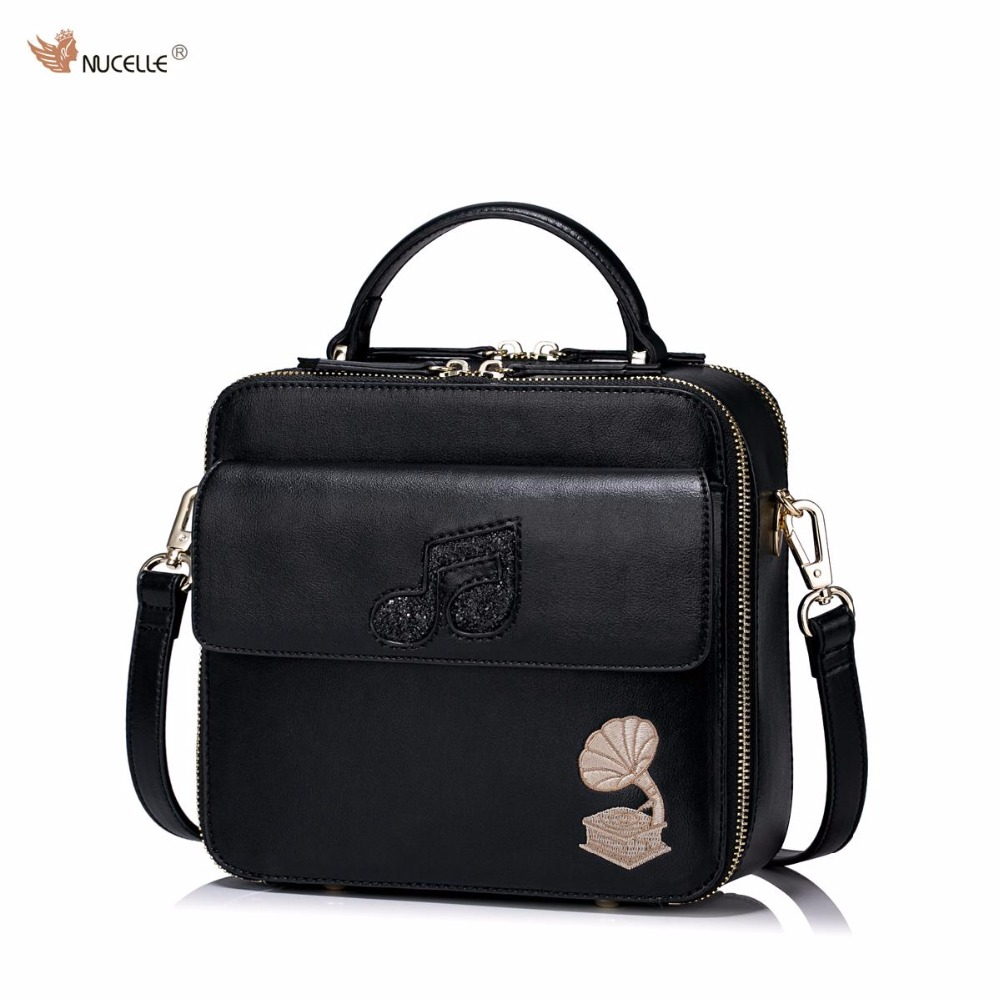 New NUCELLE Brand Design Women's Fashion phonograph Embroidery PU Leather Girls Ladies Mini Shoulder Crossbody Flap Bags Purses