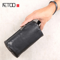 AETOO Men's storage hand carrying Baotou Layer cow bag lady small bag leather horizontal wallet