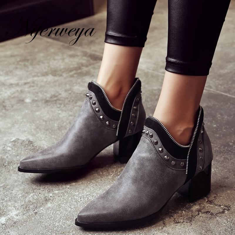 Sexy Pointed Toe women high heels big size 32-43 winter short boots fashion Rivets decoration Slip-On Ankle Boots zapatos mujer
