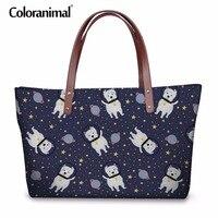 Coloranimal Brand Design Women Handbags 3D Animal Dog Space Corgi Pug Westie Beagle Print Large Shoulder Bag Shopper Tote Pouch