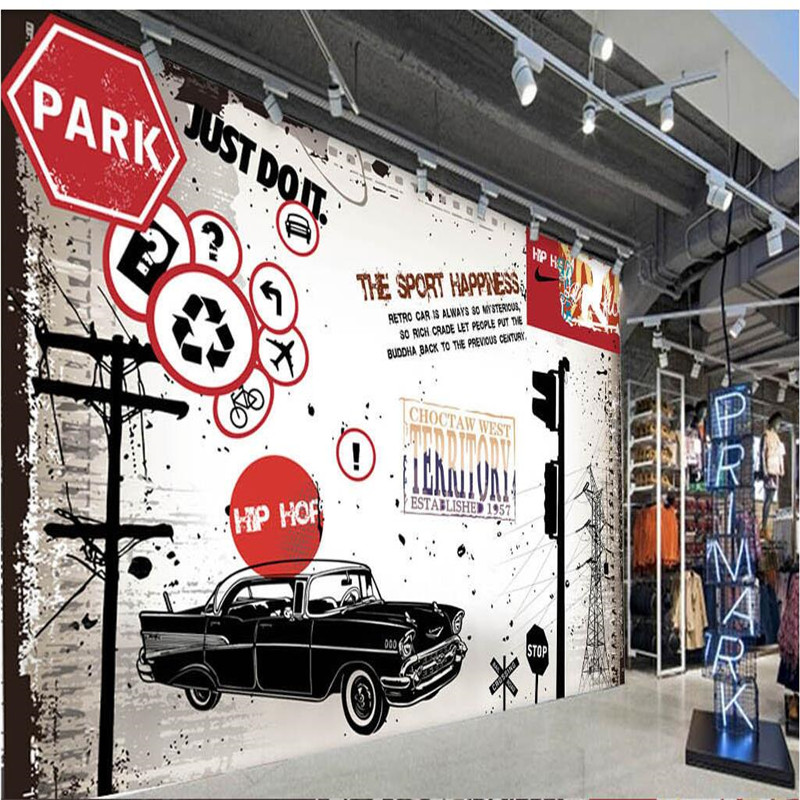 Custom Size Photo Background 3D Wall Paper Old wall nostalgic car traffic Wall Covering BedRoom Mural Modern WallPaper Decor