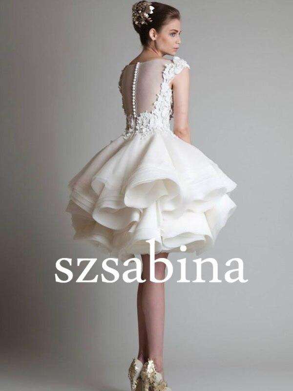 Sh0501 Real sample wedding dress ivory short wedding dress 2014-in ...