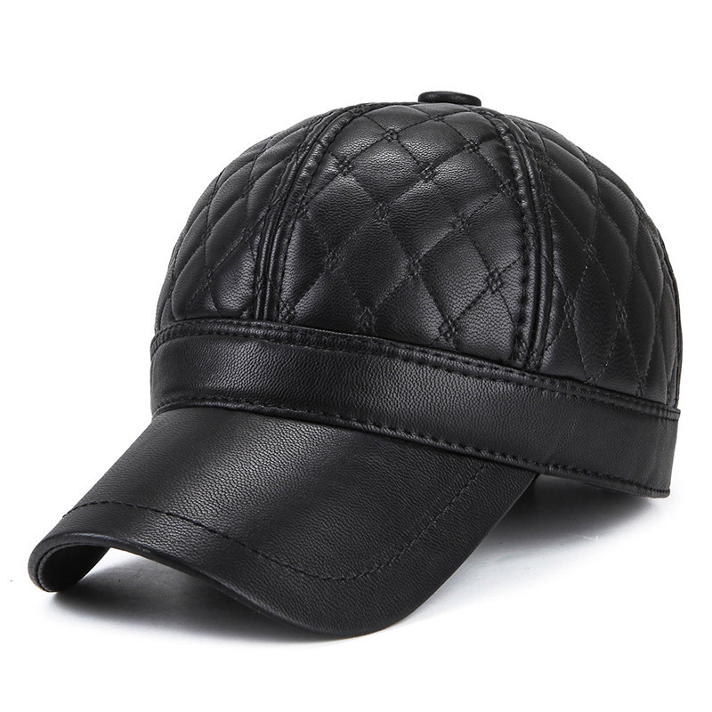 Warm Winter Leather Fur Baseball Cap Ear Protect Snapback Hat For Women  High Quality Winter Hat For Men Solid Russian Hat f4d02440266
