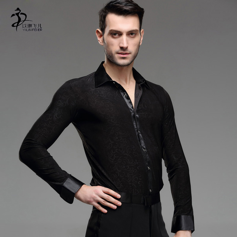 Hot-selling male Latin dance performance wear/ top adult male long-sleeve Latin shrit Спортивный бальный танец