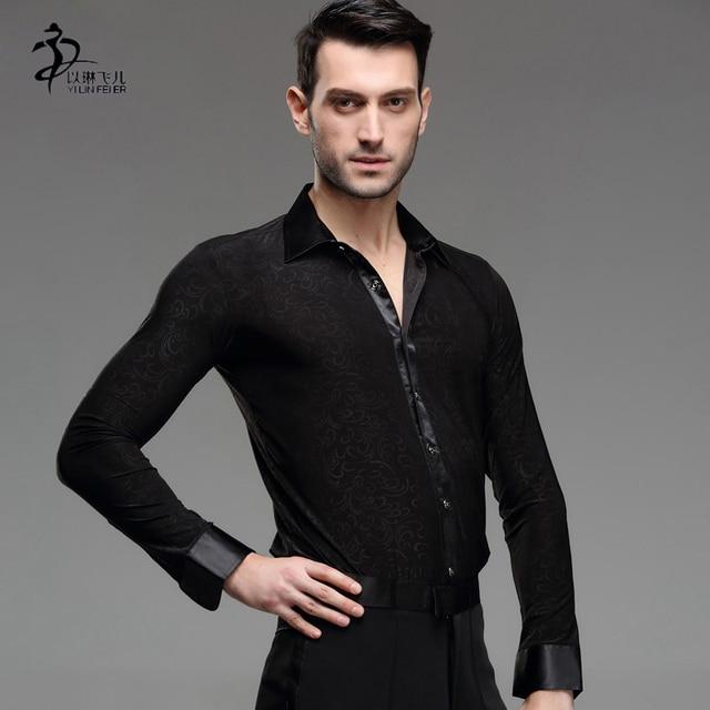 Nappa Vestito Da Ballo Latino Abbigliamento Salsa Sala Da Ballo del Costume  Concorrenza camicia da uomo 0b1ad542ac7