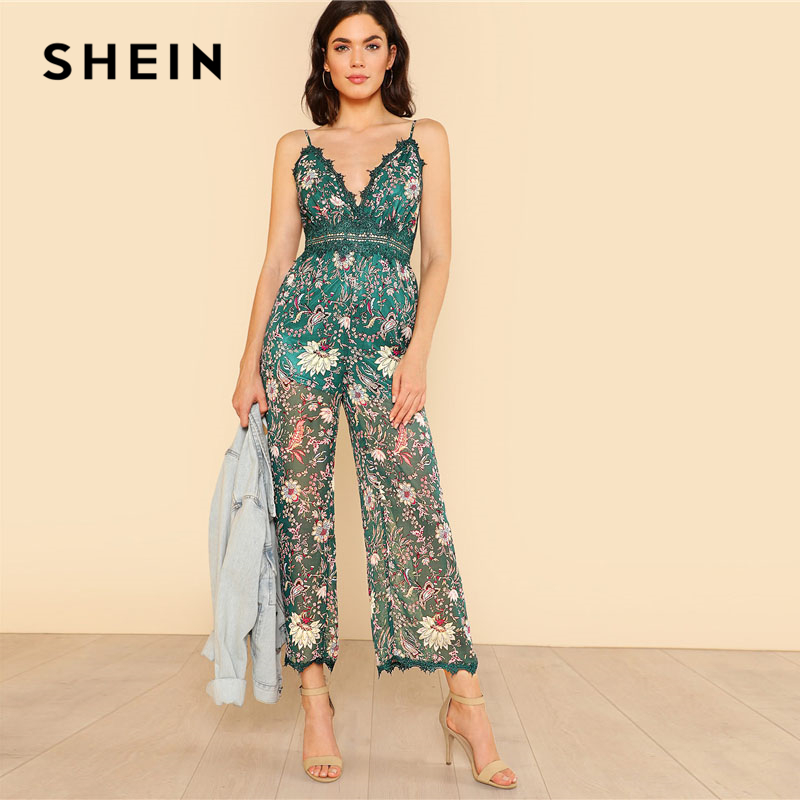 232e80afb15 SHEIN Lace Backless Wide Leg Floral Cami Jumpsuit Women Green Deep V Neck  Spaghetti Strap Sleeveless High Waist Sexy Jumpsuit-in Jumpsuits from  Women s ...