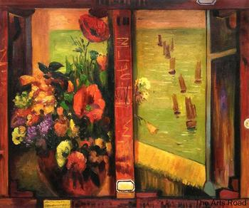 Hand Painted Oil Painting on Canvas Bouquet of Flowers with a Window Open to the Sea by Paul Gauguin Painting Flowers