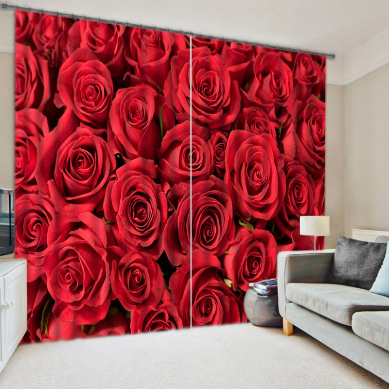 Gorgeous Rose Printed Home Decor Window Curtain With Cloth Material Window Drape China Mainland