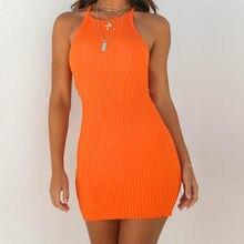 70bb4849152c9 Модные женские туфли пикантные спинки основного платья Vestidos Bodycon  платье ремень одноцветное платье на бретельках без