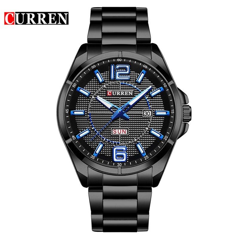 CURREN Cool Blue Hands Week Calendar Black Stainless Steel Military Men Watch Top Brand Luxury Quartz Man Sport Male Clock