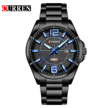 CURREN Cool Blue Hands Week Calendar Black Stainless Steel Military Men Watch Top Brand Luxury Quartz Man Sport Male Clock