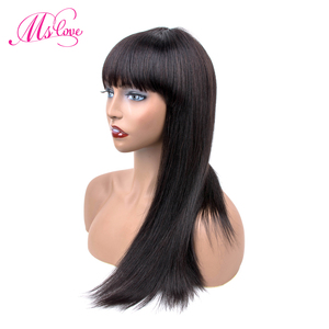 Image 3 - Straight Human Hair Wigs With Bangs For Black Women Brazilian Wig Natural Color 18 Inch Ms Love Non Remy