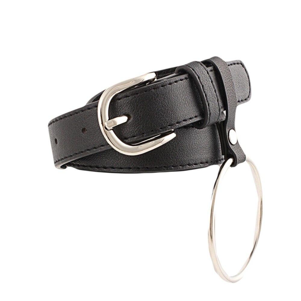 Belt   For Women Girls Fashion Vintage Geometry Accessorie Pendant Thin Leisure Leather   Belt   Slender Elastic Waistbands 2019