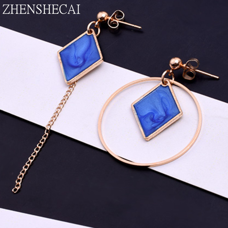 White/Blue Colors Square Pattern Round Drop Earrings For Women Asymmetry Personality Jewelry Girl's Birthday Party Gift E0340