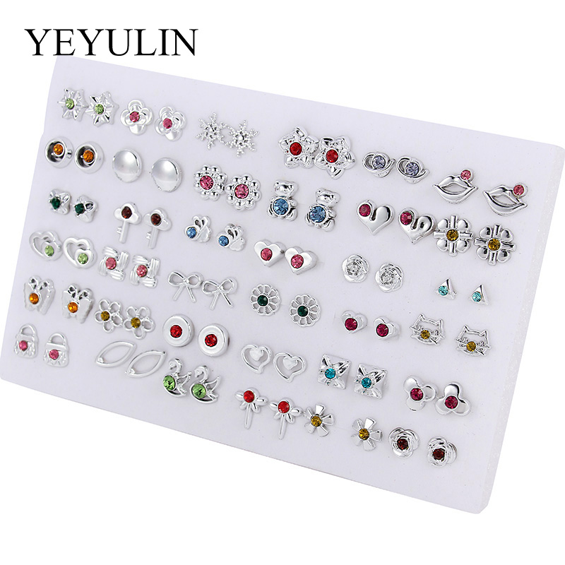 HTB1RdNmaQL0gK0jSZFtq6xQCXXar - 36Pairs/18pairs Earrings Mixed Styles Rhinestone Sun Flower Geometric Animal Plastic Stud Earrings Set For Women Girls Jewelry