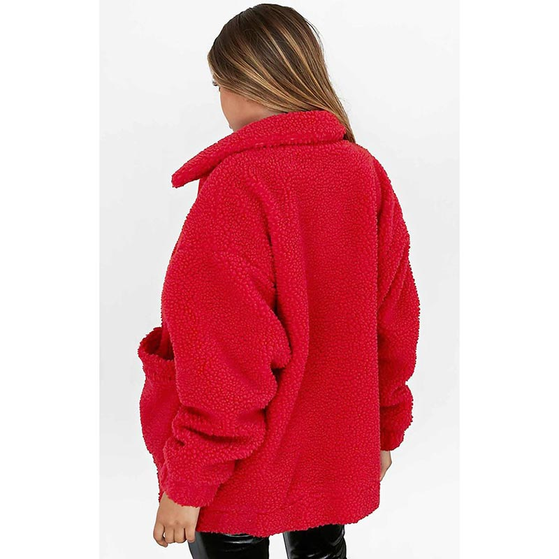 Women jacket 2019 autumn winter jacket fashion female coat new zipper sweaters lapel loose fur jacket women outerwear women coat 5