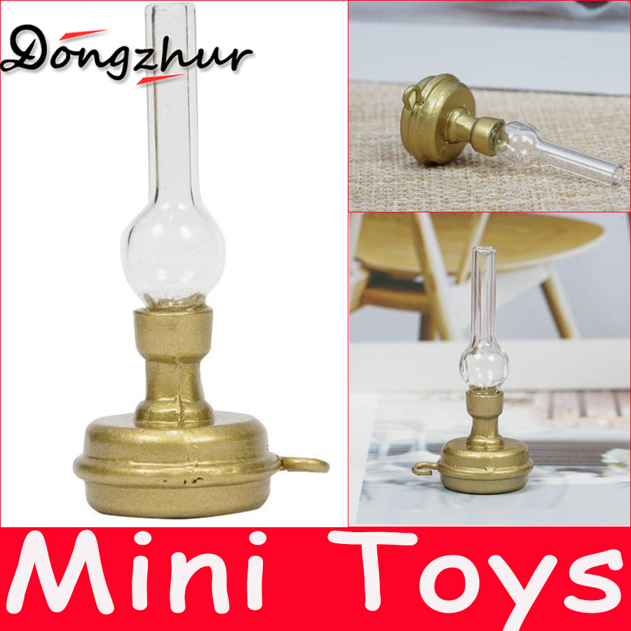 Diy Kerosene Lamp Dongzhur New Copper Base Glass Candlestick Retro Kerosene Lamp 1 12 Diy Dollhouse Miniatures Accessories Toys Wwp6974 In Doll Houses From Toys