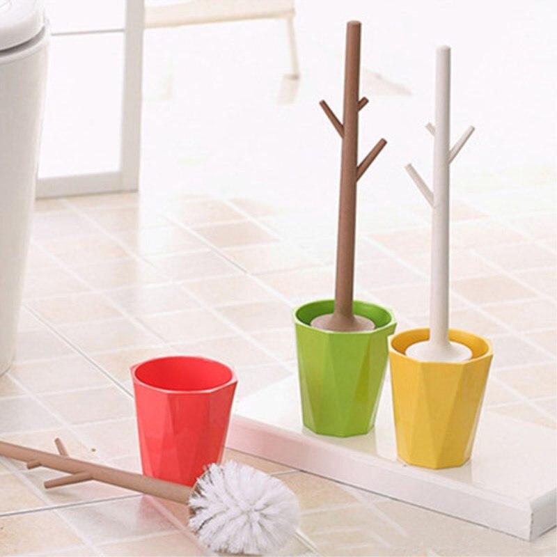 Multa 1 Pc Creativo En Forma De árbol Juego De Cepillos De Baño Desmontable Cepillo De Inodoro Limpiador 3 Colores
